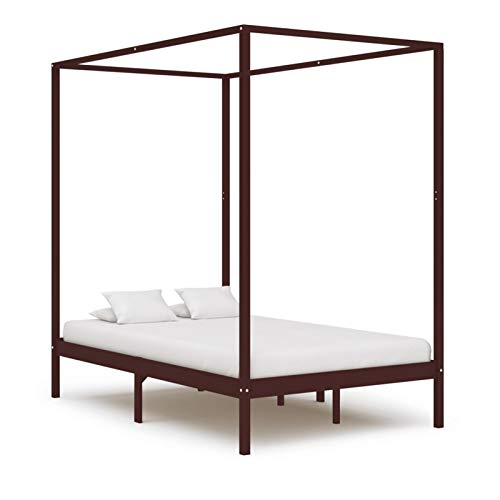 pedkit Canopy Bed Frame Single&Double Bed for Adults, Kids, Teenagers, Bed Furniture Dark Brown Solid Pine Wood 120x200 cm