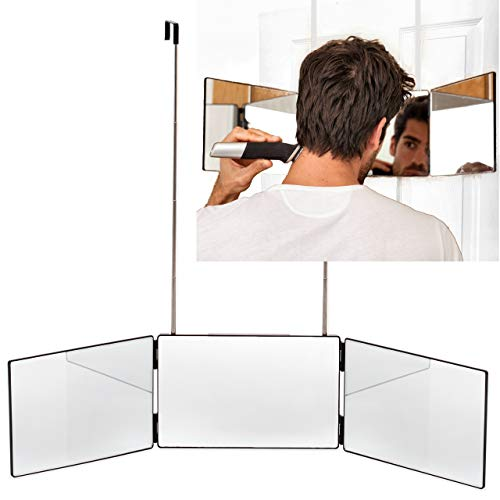 The Barbering Co. 3 Way Mirror - Real Glass | Trifold Mirror for Self Hair Cutting & Styling | DIY Haircut Tool to Cut, Trim, or Shave Your Head & Neckline at Home | Adjustable, Portable, Hands-Free