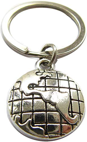 World KeyRing, World KeyChain, Globe Key ring, Globe Key Chain, Travellers Gifts, Personalised World Key chain, (1)
