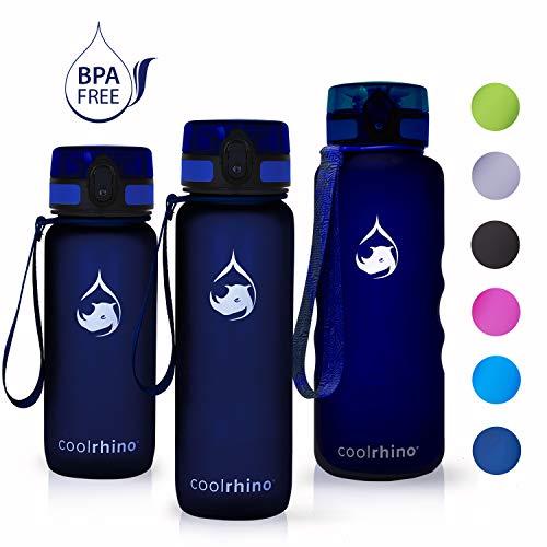 coolrhino Trinkflasche 350ml für Sport, Kinder, Schule, Fitness & Outdoor - Wasserflasche auslaufsicher und Bpa frei - Flasche für Kohlensäure geeignet (Rhino Darkblue, 350ml)