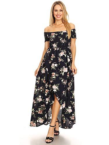 Anna-Kaci Women's Casual Floral Smocked Long Off Shoulder Hi-Lo Long Maxi Dress, Navy, Large