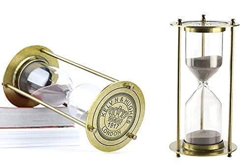 NILEFEN Hourglass『60 Minutes 』Sand Timer, Silver-Tone Metal Rotating Sand Hourglass (Bronze)