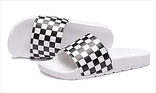 Mens Slide Sandals Checkered Print Casual Slide Flip Flops Beach Sandals (Color : 2, Shoe Size : 39)