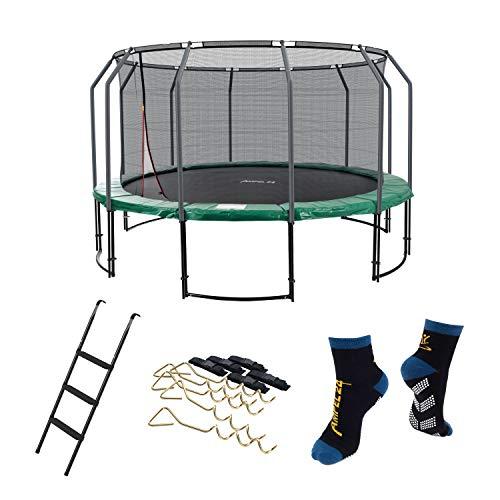 Ampel 24 Deluxe Outdoor Trampolin 430 cm mit innenliegendem Netz, Belastbarkeit 160 kg, Set mit Leiter, Windsicherung und 1 Paar Antirutsch-Socken extra