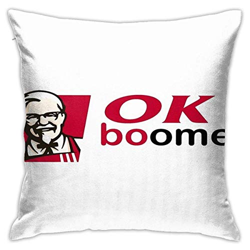 Fundas para Cojines Ok Boomer KFC Funda de Almohada Cuadrado Decorativas para Sofá Cama Fundas Cojines