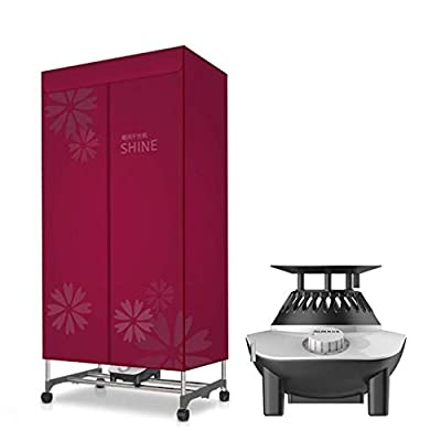 ZDVHM Dryer Double-layer Electric Mobile Folding 900W Drying Rack Quick Dryer Baby Clothes Dryer Multifunction Drying Wardrobe with Heater (Color : Red)