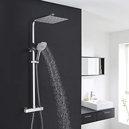 Duschsystem mit Thermostat, WOOHSE Duschset mit Höhenverstellbare Duschstange und Große Kopfdusche, Regendusche mit Schlauch, Handbrause mit 3 Strahlarten für Bad