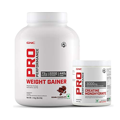 GNC Pro Performance Weight Gainer - 6.6 lbs, 3 kg (Double Chocolate) & Get GNC Creatine 250g Free