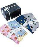 Roits Caja Regalo 4 Pares 36-40 - Calcetines Originales de Colores Mujer Dibujos Divertidos