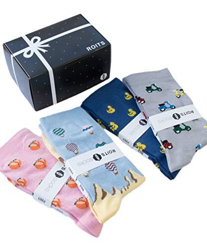 Roits Pack Regalo 4 Pares Calcetines Mujer 36-40 - Calcetines de Dibujos Divertidos Originales Estampados