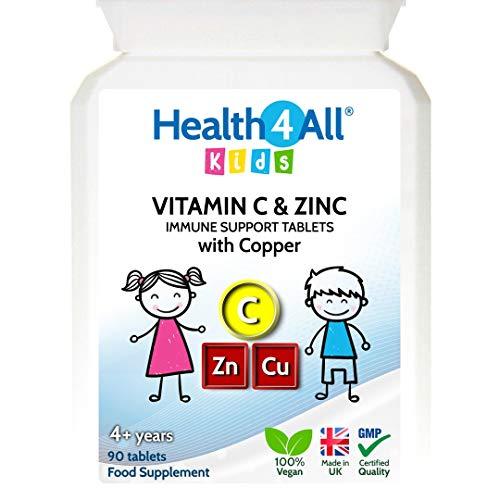 Kids Vitamin C, Zinc & Copper 90 Tablets (V) Immune Support Tablets for Children 4+. Vegan. Made by Health4All