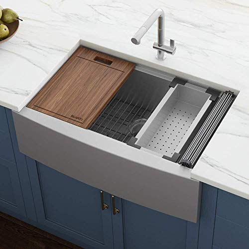 Vigo Farmhouse Apron Front Stainless Steel 36 in. Single Basin Kitchen Sink With Grid and Strainer