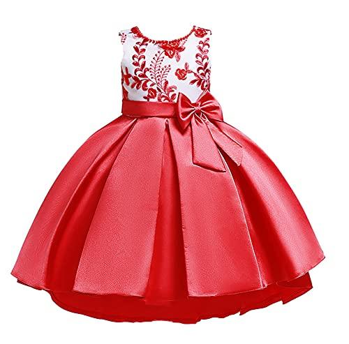 WAWALI Vestido de princesa con diseño de bowknot para niñas de 3 a 10 años, rosso, 3-4 Años