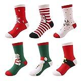 DEBAIJIA Weihnachten Auflage Baby Kinder Tube Socken Set(6er Pack) Jungen Mädchen Feierlich Baumwolle Weihnachtssocken - L(6-8 Jahre)