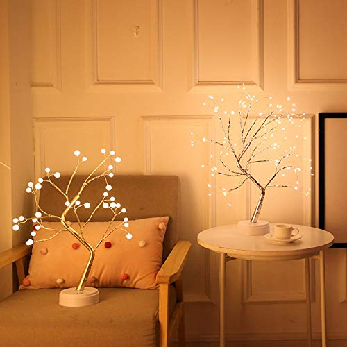 aiyu Upgraded Super Bright Christmas Lights, 108 LED Tree Lights, DIY Artificial Bonsai Tree Lights, USB/Battery-Powered Touch Switch, Xmas Warm Lights lamp for Party Wedding Home (108 Lights Color)