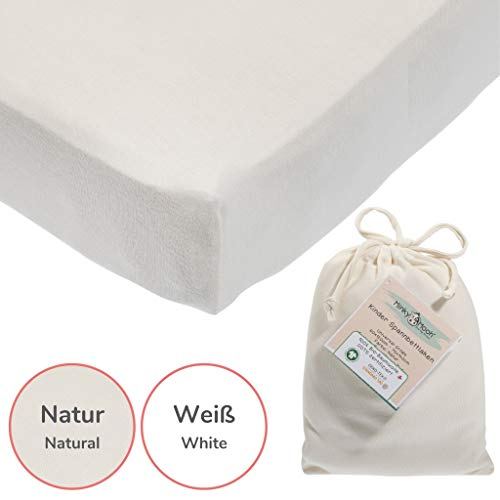 Minky Mooh Spannbettlaken aus Reiner Bio-Baumwolle für Kinderbett - Kinder & Baby Spannbetttuch/Bettlaken (Weiß, 140 x 70/120 x 60/2 Stück)