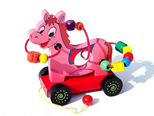 AN-76n Juguete de madera para tirar y coloridos bloques de construcción juguetes para niños y niñas de madera (caballo)