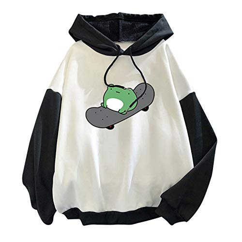 OutTop Cute Hoodie Women Funny Skateboarding Frog Fall Winter Casual Long Sleeve Loose Fit Comfy Sweatshirt Tops Tunic (Oversized/Fleece Black, M)