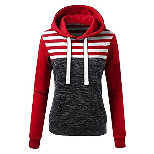 Wave166 Sudadera con capucha para mujer a rayas con estampado de patchwork, sudadera con capucha para mujer, con rayas en el pecho, todas las rayas, 2 rojos., XXL