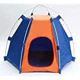 369(弥勒) ペットテント 犬のテント 犬猫用古屋 アウトドア ワンコとキャンプ アウトドアライフ 屋内 屋外 ペットハウス 折り畳み (ブラウン、ブルー)