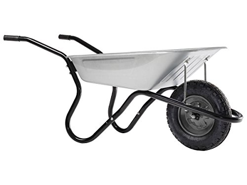 HAEMMERLIN Schubkarre BiBox (Gartenkarre mit Luftrad ,90 Liter gehäufte Füllung, Mulde verzinkt)