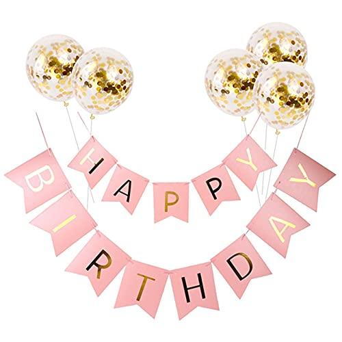 Addobbi per feste di compleanno,Festone buon compleanno,Addobbi compleanno,Palloncini Trasparenti Coriandoli Rosa Decorazioni,FestaDecorazioni Uniche per Compleanno.