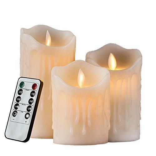 HiChili 3er Set Flammenlose LED Kerzen Echtwachskerze mit beweglicher Flamme Timerfunktion Fernbedienung Elektrische Schlafzimmer Wohnzimmer Deko für Hochzeit Hochzeit Weihnachts