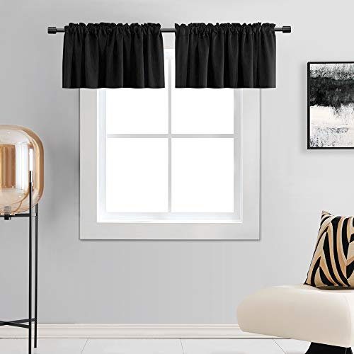 DONREN 15 Inches Long Black Valances for Windows - 2 Panels Blackout Theme Insulated Valances for Basement ,42 Inches Wide Kitchen Valances with Rod Pocket Design,2 Pack
