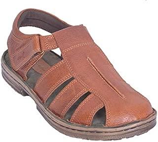 Mardi Gras Men's Leather Outdoor Sandals-Tan