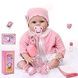 KKI Bambole Reborn Realistica, Bambola Reborn Ragazza Indossando Rosa Clothes, 55 cm Fatto a Mano Bambole in Silicone 11-Piece-Set, Regalo per la Crescita del Bambina(EN71)