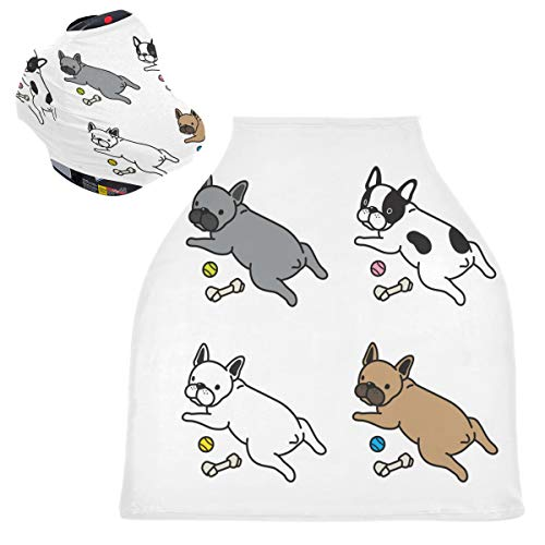Baby Carseat Canopy Cover Breastfeeding Cover - Dog French Bulldog Cartoon Nursing Cover Blanket Breathable Baby Boy Stroller Cover Baby Shower Gifts for Girl&Boy
