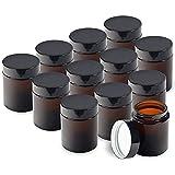 Tarros de cristal marrón tintados con tapas de rosca y revestimientos blancos para cremas, lociones y aceites esenciales, 40 onzas/120 ml (12 unidades)