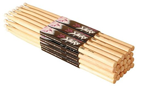 4. On-Stage Maple 5A Wood Tip Drumsticks, 12 Pairs