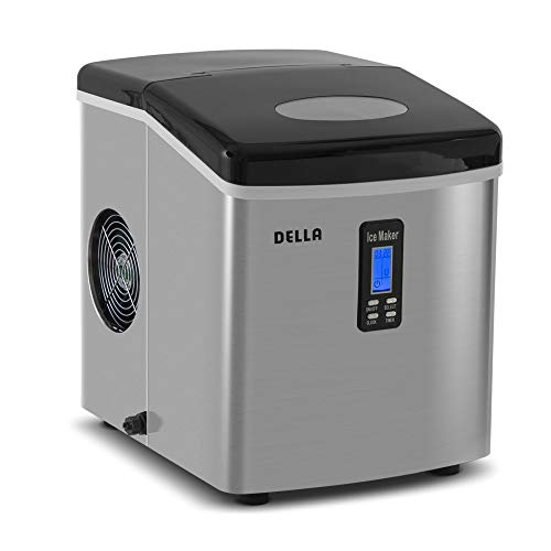 DELLA Portable Electric Ice Maker High Capacity Easy-Touch Button Up to 26 lbs per day 2 Selectable Cube Sizes, Black