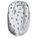 Colchón de cuna, cuna de algodón transpirable, desmontable portátil para recién nacido, con estilo de almohada3