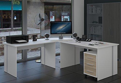Eckschreibtisch - Vielseitig verwendbar im Home oder Büro Office - Gaming Tisch - Winkelschreibtisch - Schreibtischkombination - Schreibtisch Set 4 TLG. in weiss /sonoma-eiche