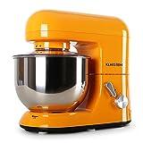 Klarstein Bella Orangina - Küchenmaschine, Rührmaschine, Knetmaschine, 1300W, 1,6PS, 5,2L, planetarisches Rührsystem, 6 stufige Geschwindigkeit, Edelstahlschüssel, orange