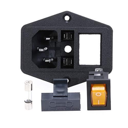 HGLNBN Interruptor basculante Interruptor 5pcs 10A 250V Entrada del módulo Plug Rocker Male zócalo de energía de 3 Pin Interruptor + Fusible (Color : Yellow)