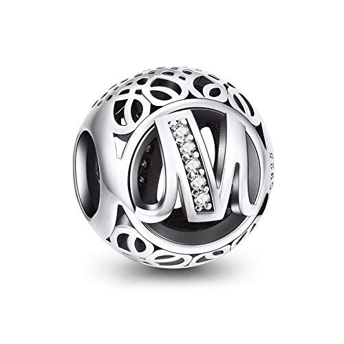 NINGAN Abalorios Charms Colgantes de Alfabeto Cuentas Plata de Ley 925 con Circonita cúbica Transparente Compatible con Pulsera Pandora & Europeo, Charms de Letra para Mujer Niña (Letra M)
