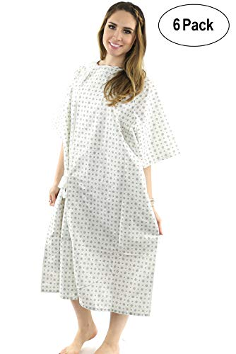 Hospital Gown (6 Pack) Cotton Blend , Useful, Fashionable Patient Gowns, Back Tie, 46' Long & 66' Wide, Fits All Sizes to 2xL Sizes Fit Comfortably - Hospital Gown (6 Pack)