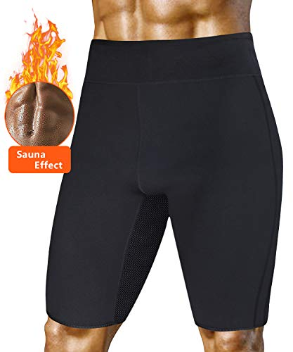 A AGROSTE Mens Weight Loss Sauna Hot Sweat Thermo Shorts Body Shaper Neoprene Athletic Yoga Pants Gym Tummy Fat Burner Slimming Sport Pant