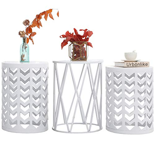 Nesting Side Table, Y&M Set of 3 Stacking Coffee Table for Living Room, Indoor End Tables, Outdoor Garden Stool with Heavy Duty Metal Frame Modern Industrial Decor - Pure White (Ship from US)