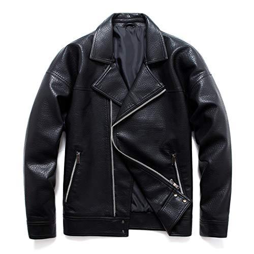 MAYOGO Herren Lederjacke Biker Jacke Motorradjacke Brando Jacke Zip Lederjacke Bomberjacke Fliegerjacke Militär Piloten Jacket Outdoor Jacke (Schwarz, XL)