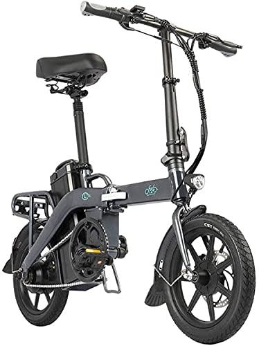 FIIDO Bicicleta eléctrica plegable L3 para adultos, 350 W, 14 pulgadas, con batería extraíble de 48 V, 3 modos de engranaje, 36 km/h, en 5 – 7 días (gris)