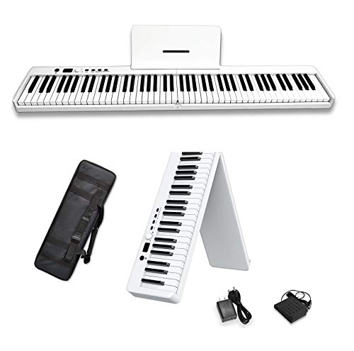 MAGICON 88 Key Foldable Electronic solid Piano can be folded in 180°,more portable. True and Pure Grand Piano Sound Source by France DREAM, Foot Pedal/Power adapter/Delicate Handbag (White)