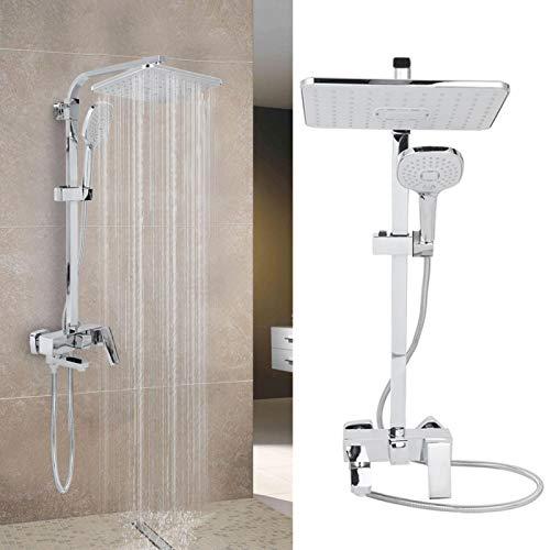 AYNEFY Kit de sistema de ducha, de acero inoxidable, juego de ducha de lluvia moderno, mezclador de riel de ducha montado en la pared, ducha de lluvia para baño y hotel