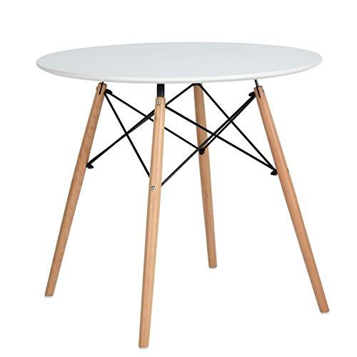 H.J WeDoo Esstisch Rund Küchentisch Modern Retro Kaffeetisch mit Buche Holz Beine Weiß 80 x 75 cm