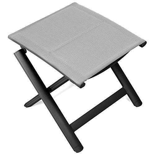 Vanage gepolsterter Hocker in grau- klappbarer Fußhocker - Alu Klapphocker - Sitzhocker - Klappstuhl für Camping, Garten, Terrasse und Balkon geeignet