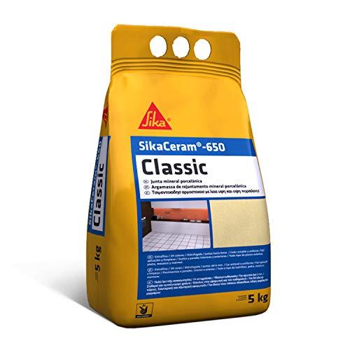 SikaCeram-650 Classic, Beige, Junta mineral porcelánica, Lechada de cemento coloreada para relleno de juntas de 1-6 mm en paramentos y pavimentos interiores y exteriores, 5 kg