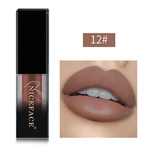 Fulltime 18 Couleurs Matte liquide rouge à lèvres imperméable maquillage Gloss (12#)